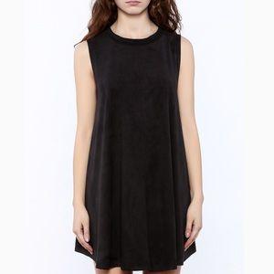 AUDREY 3+1 FAUX SUEDE MINI SHIFT DRESS